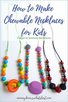 Learn how to make a chewable necklace for kids, perfect to use as a sensory necklace or as a fidget tool. Use chewable beads, nylon cord, and clasps. Teething Necklace For Mom, Teething Beads, Kids Necklace, Necklaces, Fidget Tools, Blue Sapphire Necklace, Necklace Tutorial, Thing 1, Kids Jewelry