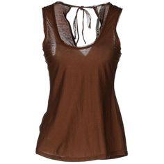 Le Coeur De Twin-Set Simona Barbieri Sleeveless T-Shirt ($24) ❤ liked on Polyvore featuring tops, t-shirts, brown, cotton sleeveless tops, sleeveless tshirt, cotton jersey, sleeveless jersey and jersey tee