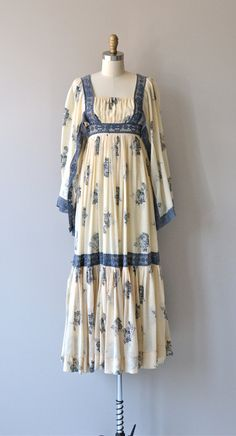 Trillemarka dress 1970s peasant dress cotton 70s by DearGolden