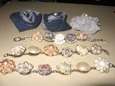Repurposed vintage earrings made into bracelets. Rose broaches from Sewsimplydelightful on Etsy.