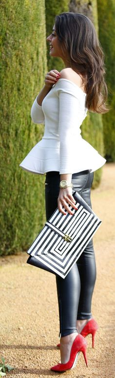 White Long Sleeve Off Shoulder Peplum Top - Spring...