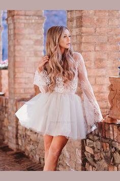 5ed84054100 A-Line Prom Dresses, Ivory Homecoming Dress, Prom Dresses Lace, Short  Homecoming
