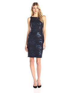 Adrianna Papell Womens Sequin Embroidered Floral Tulle Sheath Navy 10 * For more information, visit image link.