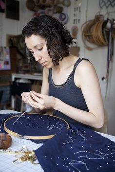 Great project/tutorial for French Dot Constellation Runner -- WITH SHINYYYYY sequins!  Template HERE:  http://www.designsponge.com/wp-content/uploads/2013/04/Constellation-Template_DS.jpg?73626