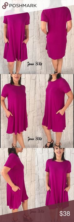 Premium Bamboo Dress The perfect day dress...96% bamboo viscose t-shirt style pocket dress - this is the perfect short sleeve throw on and go casual dress..feels amazing 😍  ✔️made in the USA ✔️Bamboo/Spandex ✔️Bust 34/36/38 ✔️Length 34-35 ✔️A-line style past the bust ✔️Hidden side pockets Boutique Dresses