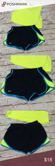 UNDER ARMOUR HEAT GEAR TRI-COLOR RUNNING SHORTS Gently used shorts with built in panty by Under Armour.  Black/Blue/chartreuse yellow Under Armour Shorts
