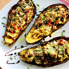 Stuffed Eggplant with Ricotta, Spinach and Artichoke @keyingredient #cheese