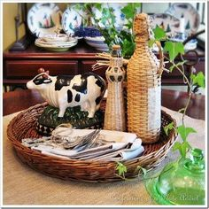 fabulous vintage y cow a 3 00 goodwill find stars in my new breakfast room, home decor, Vintage cow centerpiece in the breakfast room
