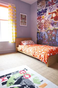 graffiti wall, bedding, curtains...