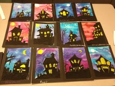 Draw houses on watercolor paper, maybe using a few example of houses. Start with the basic shape, a rectangle or square, then choose a triangular or rectangular roof. Start by coloring the moon and windows with yellow oil pastels. Then fill in the silhouettes with black oil pastel. This is using Prang Watercolors. Suggestion is to limit them to 2 colors only. Any more than that turns in to a mess.