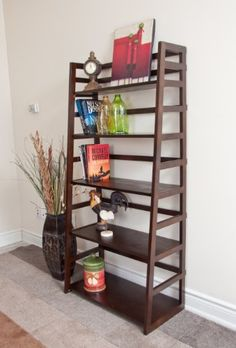 Simpli Home AXSS008KD Acadian Collection Ladder Shelf Bookcase, Rich Tobacco Brown, 1-Pack