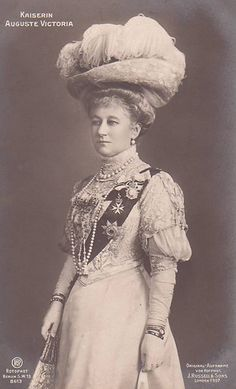 """Auguste Victoria """"Dona"""" 2nd child of Frederick VIII (1829-1880) Duke of Schleswig-Holstein, Germany & Princess Adelheid (1835-1900) of Hohenlohe-Langenburg. Princess Auguste Victoria """"Dona"""" (1858-1921), 1st wife of Wilhelm II (1859-1941) German Emperor, postcard in 1907. She had a lukewarm relationship with her mother-in-law, Victoria (1840-1901) who had hoped that Dona would help to heal the rift between herself & Wilhelm II. Sadly, this would not happen."""