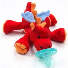"""WubbaNub (tm) DRAGON Pacifier!  Yes I let my LO use one, and the wubb nub is great. It makes it much easier for little ones to keep a hold of or find again without """"tying"""" it to them"""