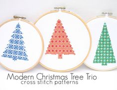 Modern Christmas Tree Cross Stitch Pattern Trio--PDF Instant Download