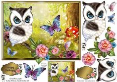 Pretty Woodland Owl on Craftsuprint designed by Karen Wyeth - A charming quick card topper with owl toppers, embellishments, sentiment panel topper and a matching smaller image - ideal for creating a co-ordinating gift tag. xk - Now available for download!
