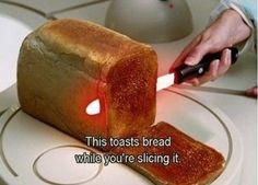 자르면서 빵을 구울 수 있다는 아이디어는 좋은데 빵이 겉만 심하게 탈 것 같고 좀 위험할 것 같다.