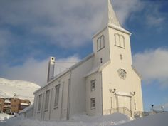 Honningsvåg Kirke-Church, Nordkapp, Norway. A modest timber church that seats 220 people. Built in 1885, Honningsvåg Kirke is the oldest building on the island of Magerøya.  No other buildings survived the end of World War II.
