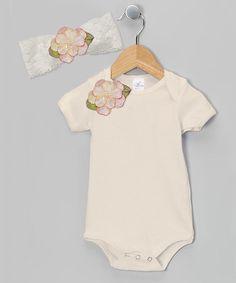 Pale Yellow Flower Bodysuit & Lace Headband - Infant by Tesa Babe #zulily #zulilyfinds