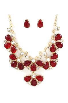Magaline Necklace Set in Ruby Shimmer on Emma Stine Limited $58