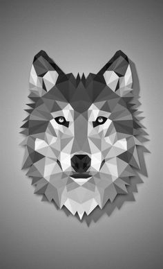 Frontal view of a wolf in low poly art Geometric Wolf, Geometric Drawing, Art Teen Wolf, Animal Drawings, Art Drawings, Drawing Animals, Polygon Art, Wolf Wallpaper, Dog Art