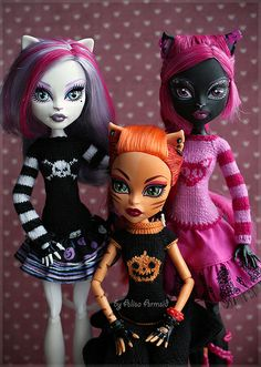 Millicent, Clarissa and Trinu Monster High Doll Clothes, Custom Monster High Dolls, Monster Dolls, Custom Dolls, Monster High School, Monster High Birthday, Monster High Party, Beanie Boo Birthdays, Personajes Monster High