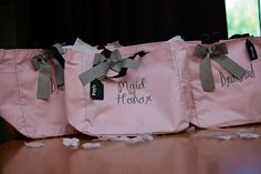 Trilogy at Vistancia Weddings   Arizona Wedding Venue   A pink tote bag as gifts for the maid of honor and bridesmaids   Lia's Photography