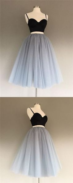 Two Pieces Homecoming Dress Black and Silver Short Prom Dress Party Dress JKS062