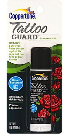 How To Protect Tattoos From Fading In The Sun: Review, Coppertone Tattoo Guard Sunscreen Stick SPF 50, Ingredients
