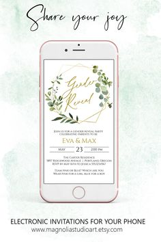 Rustic Greenery and Gold Electronic Baby Gender Reveal Invitation, Digital Gender Reveal Announcement, Smartphone Invitation, Gender Reveal Invitations, Baby Shower Invitations, Gender Reveal Announcement, Electronic Invitations, Shower Inspiration, Baby Gender, Wedding Save The Dates, Lets Celebrate