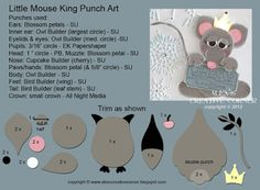 Alex's Creative Corner: Mouse King Punch Art Instructions by jayne Owl Punch Cards, Stampin Up, Paper Punch Art, Owl Card, Craft Punches, Kids Cards, Baby Cards, Card Tutorials, Cardmaking