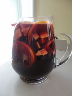 Autumn Sangria - made with red wine, apple cider, cinnamon sticks and honeycrisp apples