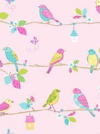 Hoopla Pretty Birds Pink Wallpaper 10m