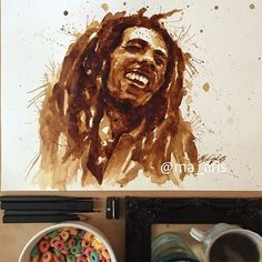 Coming from the art background, love of commercial art and of course coffee, coffee painting has been one of my recent projects. Coffee Art, Coffee Drawing, Coffee Uses, Coffee Painting, Coffee Life, Drink Coffee, Kandinsky, Bob Marley, Art Aquarelle