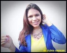 Flávia Carvalho: LOOK DO DIA #JaquetaAzul #BlusaAmarela