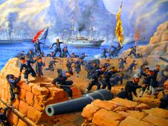 French marines taking Fort Fou-Tchéou during Sino-French (Tonkin) War