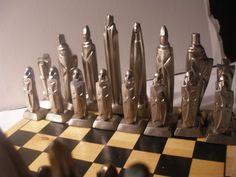 Huge impressive mid-century gothic contemporary chess set.