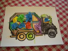 stinky, smelly story time--G is for Garbage Truck Truck Crafts, Man Crafts, Kids Crafts, Preschool Projects, Preschool Activities, April Preschool, T Is For Train, Community Helpers Crafts, Community Workers