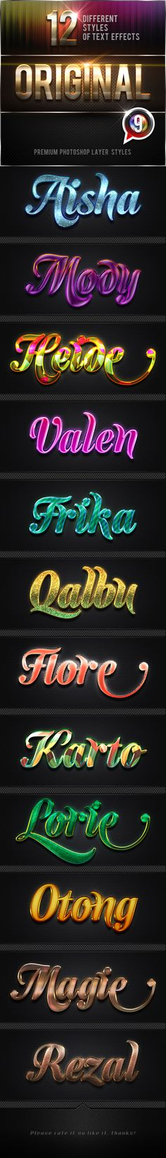 12 Original Photoshop Text Effects Vol.9 by MualanaDesign  Original Photoshop Text Effects Vol.9With high quality and premium effects can produce the effect of a more perfect and interesti