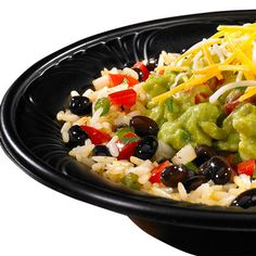 "Burrito Bowls | Moe's Southwest Grill | This one is called ""Band Camp.""  :)  It is rice, beans, shredded cheese, pico de gallo and guacamole."