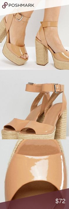 💕ASOS Totty Espadrille Platform Sandals Platform shoes by ASOS Collection, Faux-leather upper, Patent finish, Ankle -strap fastening, Peep toe, High woven heel, Wipe with a damp cloth.  Color - Caramel ASOS Shoes Sandals