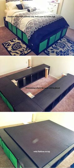 IKEA Hack - I want this bed for our room to add plenty of extra storage without taking up extra space. I would use white cupboards and purple storage boxes.