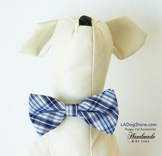 Plaid dog bow tie collar, Bow attached to collar, Puppy, Cat accessory, Puppy birthday gift, Dog Cat Collar, Small Collar,Plaid Blue bow tie