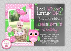 Girls Owl Birthday Invitation Pink and Green Birthday Invitation #pink #green #owl #birthday