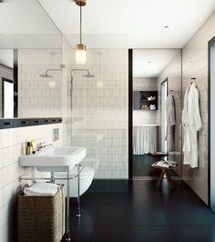 Stijlvolle badkamer met inloopdouche en spiegel #inloopdouche #badkamer