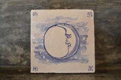 "Handmade stoneware tile ""Lua"" by PortugueseSun on Etsy"