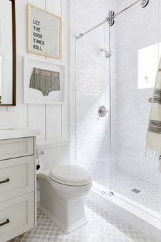 Vintage Framed Swimsuit Over Toilet - Cottage - Bathroom Cheap Home Decor, Boys Bathroom, House Bathroom, Home Remodeling, Bathrooms Remodel, Master Bath Design, Guest Bath, Cottage Bathroom, Bathroom Design