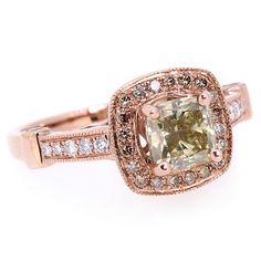 Jewelry Point - 1.67ct Cushion Champagne Diamond Engagement Ring Rose Gold, $3,650.00 (http://www.jewelrypoint.com/1-67ct-cushion-champagne-diamond-engagement-ring-rose-gold/)