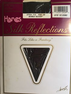 Vtg Hanes Silk Reflections Size CD Barely Black Silky Sheer Sandalfoot Pantyhose  | eBay