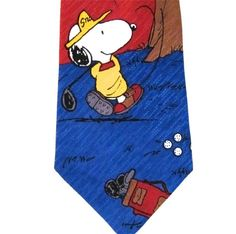 """Snoopy is Golfing and Swings and Hits the Ball and it's Headed right for Woodstock in the Tree, Neck Tie from Peanuts Gang, Made USA, Titled """"Charlie Brown and Gang Make a Birdie"""" $13.42 #Peanuts #Snoopy #CharlesShulz at JustLuvTreasures.com"""