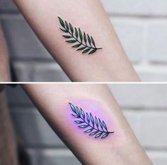 20 Super Fun UV Tattoos by Australian Tattooist Tukoi Oya , Baby Tattoos, Mini Tattoos, Cute Tattoos, Body Art Tattoos, Small Tattoos, Tatoos, Uv Tattoo, Mark Tattoo, Black Light Tattoo